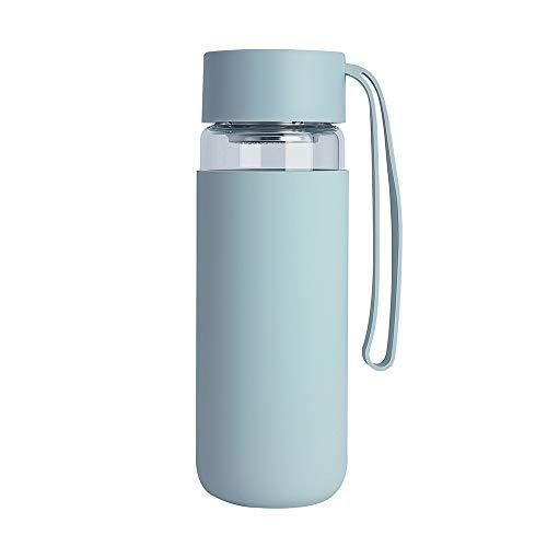MSNLY Kreative hohe Borosilikatglas Tasse Silikon Anti-Verbrühung Student tragen Seil tragbare Outdoor-Tasse Auto Wasser Tasse Geschenk Anpassung