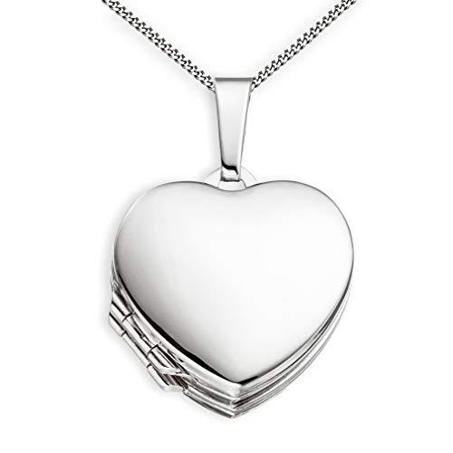 Medaillon Doppelmedaillon Hochglanz Herz 925 Sterling Silber zum öffnen für Bildereinlage 4 Fotos Amulett + Kette mit Schmuck-Etui von Haus der Herzen®