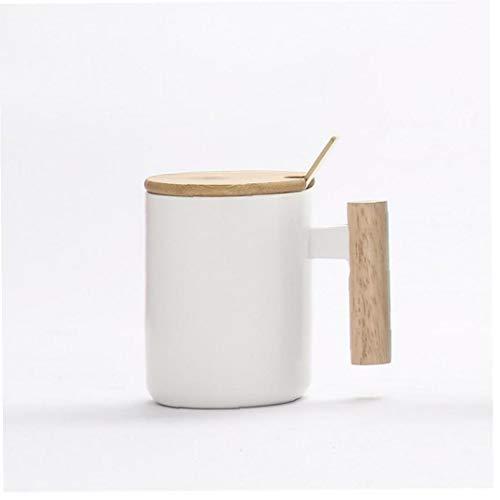 Case Cover Hochtemperatur-Cup Holzgriff-Schale mit Deckel Löffel Keramik-Schale Kaffee-Getränke-Geschenk 400ml (zufällige Farbe)
