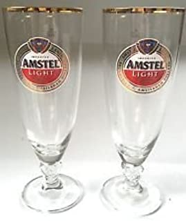 Amstel Light 24 K Gold Rimmed Chalice Glass | Set of 2 Glasses by Amstel