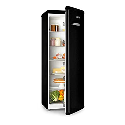 Klarstein Irene XL - Full-Size Refrigerator, Retro Refrigerator, Compression Refrigerator, 242 L Volume, Infinitely Variable 0-10 ° C Cooling Capacity, 4 Shelves, Vegetable Compartment, Black