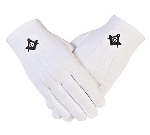 Gloves4masons PCI de la Logia de símbolo masónico con guantes de algodón en color negro SC y G