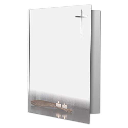 25 x Trauerkarte DIN A6 Motiv Kerzen auf Holz - mit Kreuz - 10,5 x 14,8 cm - Doppelkarte bedruckbar - Kondolenzkarten für Danksagung, Einladung, Anzeige Trauer