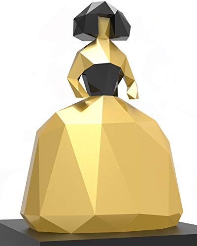 Oh Glam Home Kit DIY Menina Papercraft Kit Cartón 3D Escultura Origami 3D Puzzle 3D PRECORTADO (Dorado y Negro)