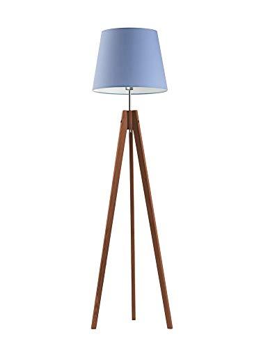 Aruba - Lámpara de pie (3 patas, pantalla de lámpara, marco de caoba), color azul