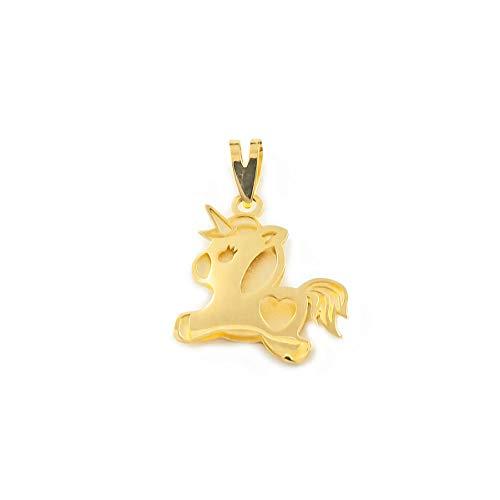 Colgante Oro Unicornio calado corazon mate y brillo (9kts)