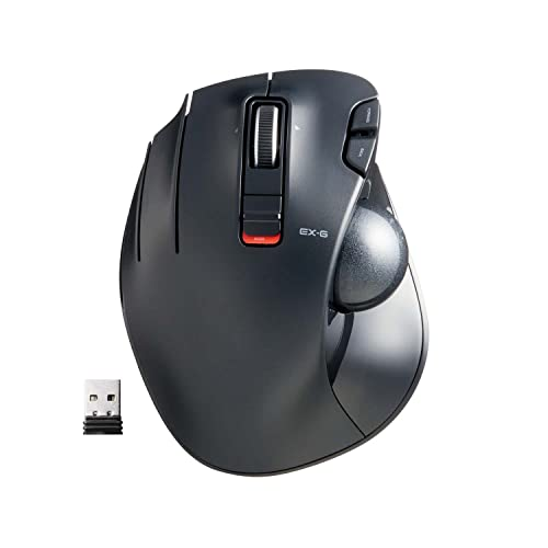 ELECOM Left-Handed 2.4GHz Wireless Thumb-operated Trackball Mouse, 6-Button Function with Smooth Tracking, Precision Optical Gaming Sensor (M-XT4DRBK) , Black