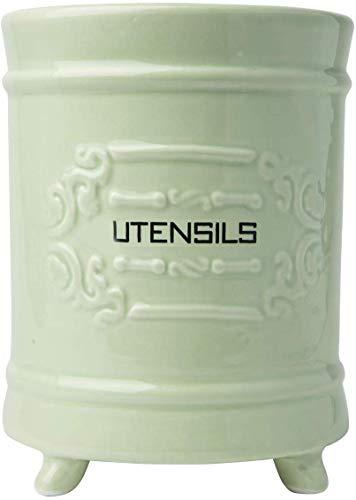 Comfify Französischer grüner Keramik-Utensilienhalter - Vintage Style Kochgeschirr Caddy - Antikes Design - Kochgeschirr Organizer - Rustikales französisches Landhausgeschirrtopf für Kochfreunde