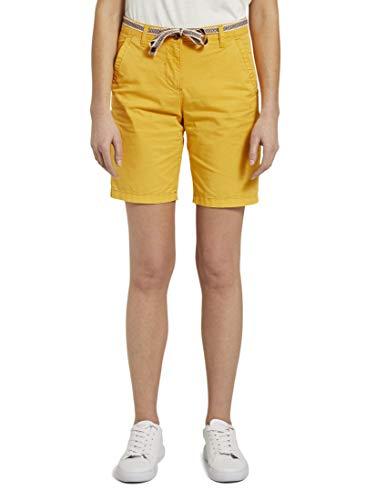 TOM TAILOR Damen Hosen & Chino Relaxed Chino Bermuda Shorts mit Stoffgürtel deep golden Yellow,42