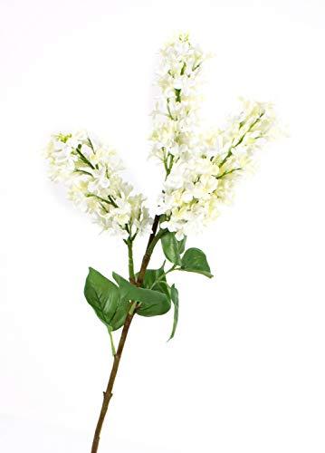 artplants.de Branche de Lilas Artificielle, 3 Fleurs, crème, 85cm, Ø 7cm - Branche Artificielle Fleurie - Déco Printemps