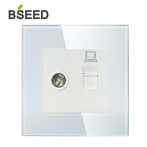 BSEED Wandcontactdoos 1/2 TV-antenne coaxiale en RJ45-CATE-Ethernet-bus kristalglasplaat schroevenloze stekkerdozen PC+TV wit