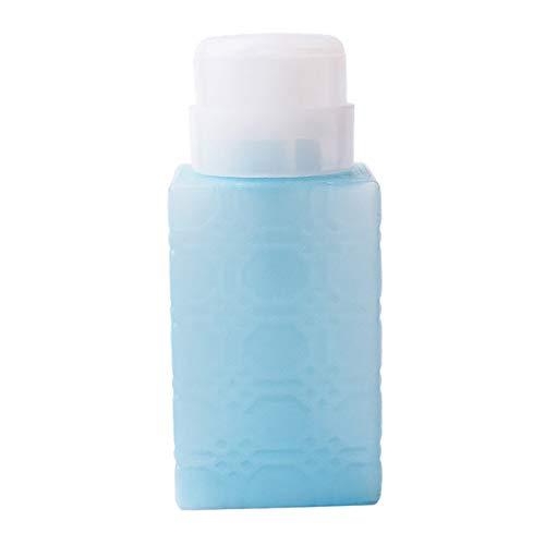 Fenteer 220ml Distributeur De Dissolvant de Pompe à Vernis à Ongles Contenant Vide Bouteille en Plastique Portable pour Voyage - Blue Square