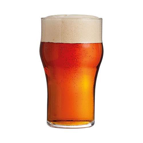 Rekean - Bicchieri da birra trasparenti autentici – Set di Pinte Nonic Originali senza piede impilabili – Confezione da 6 – 34 cl