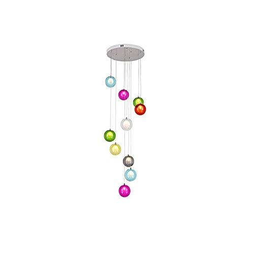 BUNUMO Candelabro de Bolas de Vidrio de 10 Piezas, Luces múltiples, Moderno y Creativo, Sala de Estar, luz Colgante, Villa, lámpara de Techo, apartamento dúplex, escaleras en Espiral, candelabro la
