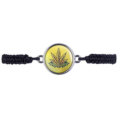 Mylery armband met motief hennepblad plant goud geel zilver of brons 16 mm