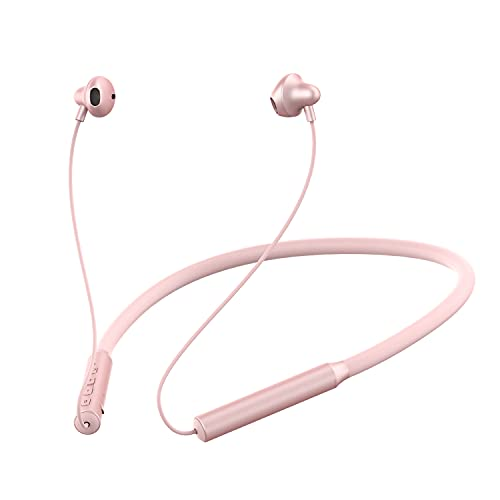Wireless Neckband Headphones, Bluetooth 5.0 Lightweight Stereo Earbuds with Magnetic, Best Wireless Sports Stereo Sweatproof Headset with Mic Compatible with iPhone for Running Sports (Pink)