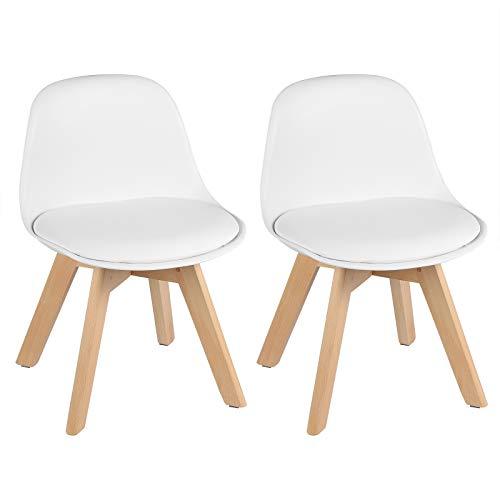 WOLTU 2er Set Kinderstühle mit Holzbeinen, Stuhl für Kinder, Sitzhöhe 33cm, Stabile Kinder Stühle mit Rückenlehne für Kinderzimmer, Sitzgruppe Kindertisch, Weiß