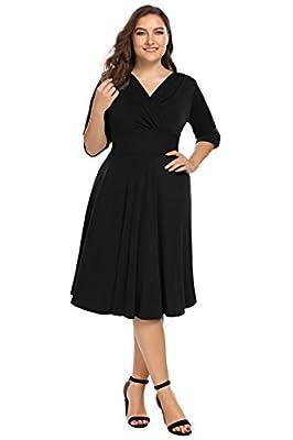 Involand Womens Plus Size Sexy Wrap Dress 3/4 Sleeve Midi Evening Party Dress