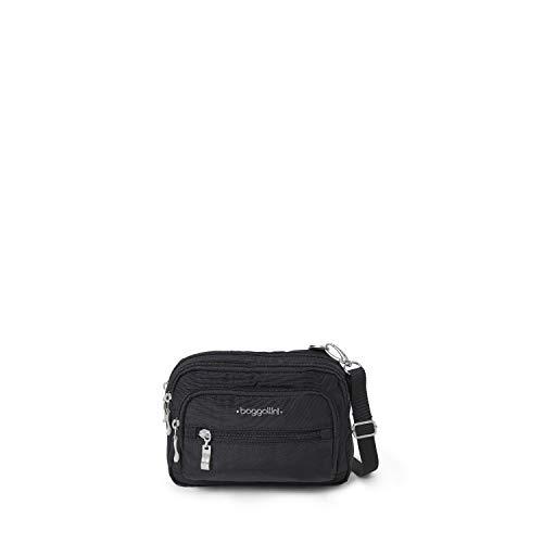 baggallini Triple Zip Crossbody Bag , Black