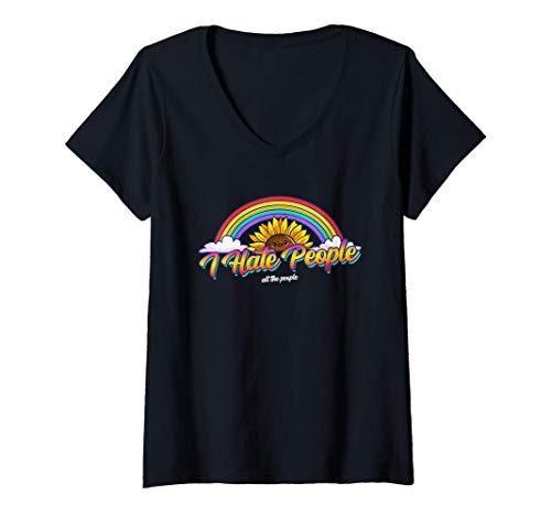 Mujer Odio a la gente - Girasol y arcoiris Camiseta Cuello V