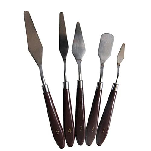 LIXBD Juego de 5 cuchillos de pintura de acero inoxidable paleta de pintura cuchillo herramientas de pintura para pintura al óleo acrílica pinturas de mezcla gruesa aplicaciones de textura