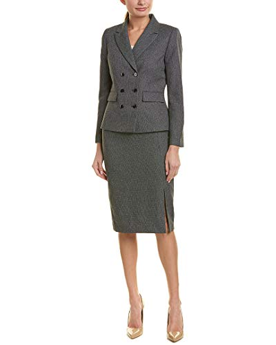 Tahari ASL Women's Double Brested Skirt Suit with Flap Pocket, Black/White, 14
