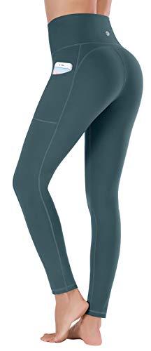 Ewedoos Leggings mit Handytasche Sporthose Damen High Waist Sport Leggings Yogahose Damen Blickdicht Laufhose (E320 Dunkelgrün, Medium)