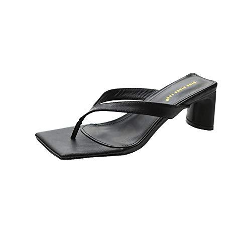 Chanclas Casual Mulas Sandalias Zapatos,Sandalias de tacón Medio con Punta Cuadrada y Exterior para Mujer-Negro_37,