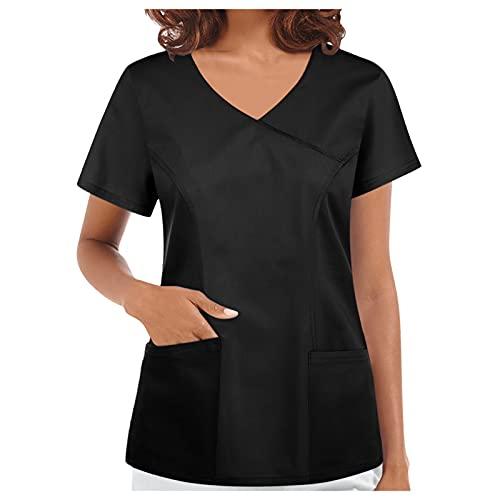 Kasack - Ropa de trabajo para mujer, para verano, otoño, cuello en V, corto, bata de laboratorio, monocolor, ropa para mujer, bata con dos bolsillos, uniforme