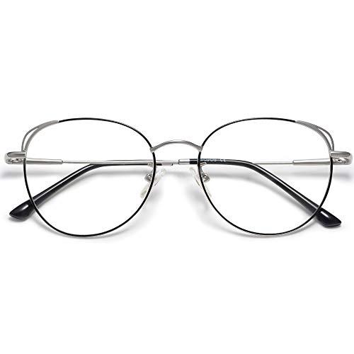 SOJOS Runde Brille Damen Blaulichtfilter Katzenaugen Computer-Gläser Handgemacht Hochwertig SJ5027 mit Schwarz&Silber Rahmen/Anti-Blaulicht Linse