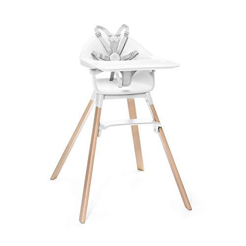 STOKKE® Clikk™ Kinder Hochstuhl - Babystuhl verstellbar und mitwachsend - Geeignet ab 6 Monate bis 3 Jahre - All-In-One Paket mit Tray und Sicherheitsgurt - - Farbe: White