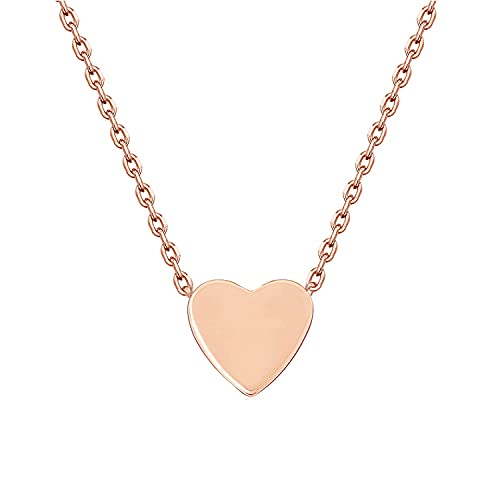 Legitta Damen Kette mit Herz Anhänger in Rosegold Minimalist Design Titanschmuck Feine Titan Halskette Schmuck für Frauen Mädchen