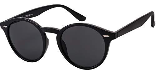 Sonnenbrille Herren Polarisiert Damen La Optica UV400 CAT 3 Retro Vintage Hippie Rund Round - Glänzend Schwarz (Polarisierte Gläser)