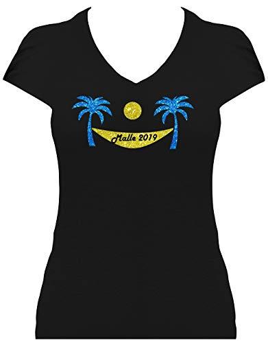 BlingelingShirts Glitter Shirt dames Beach Party Malle 2019 hangmat met palmen