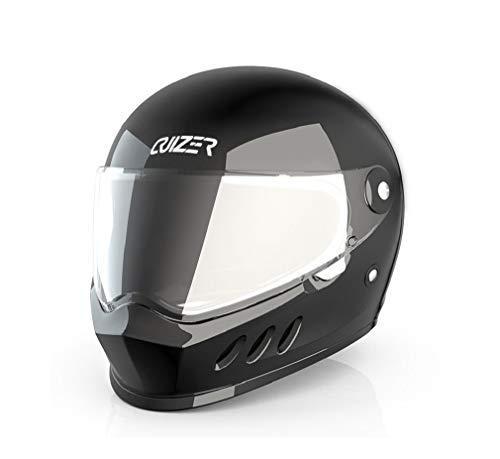 CRUIZER Motorradhelm Integralhelm für Damen und Herren, schwarz glänzend, mit klarem Visier, innen abnehmbar und waschbar, Kinnriemen (XS)