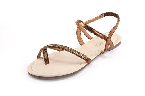 MuDan Womens Slingback Rhinestone Ankle Strap Thong Sandals (7 B(M) US, Bronze)…