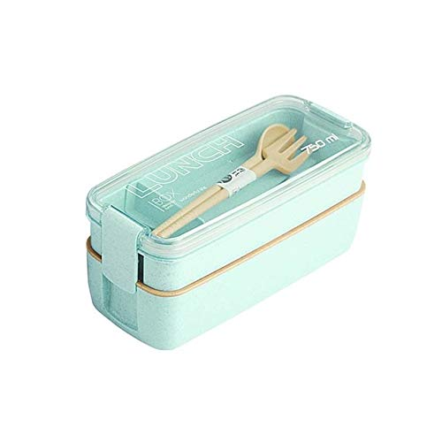 Bruce Dillon 750 ml gesundes Material 2-lagiger Weizenstroh-Mikrowellenofen Besteck Lebensmittelvorratsbehälter Bento-Box - Grün