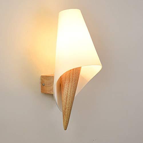 Yang1mn Nordic Lámpara De Pared Creativa Simple Vidrio De Madera Maciza Iluminación LED Lámpara De Cabecera Madera Blanca Longitud De Color 13 Cm De Alto 33cm5-25 Dormitorio Cuadrado Pasillo De Estudi
