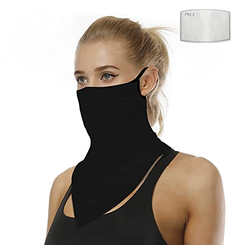 XL Size Neck Gaiter Bandanas Scarf with Carbon Filter by UniqGarb Black