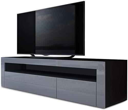 Vladon TV Board Lowboard Valencia, Korpus in Schwarz matt/Front in Grau Hochglanz mit Rahmen in Grau Hochglanz