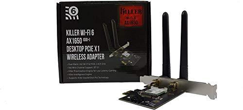 Killer Wi-Fi 6 AX1650 PCIe Addin Card – Dual Band, 2x2 Wi-Fi 6/11AX, Bluetooth 5.1, M.2/NGFF (Gig+)