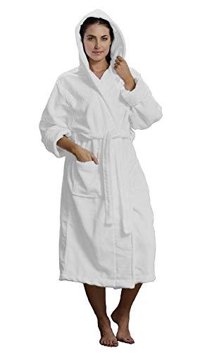 BY LORA Bademantel aus Mikrofaser für Damen und Herren, Unisex SMALL/MEDIUM weiß