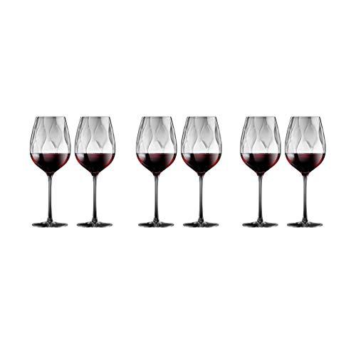 ZRJ Juego de copas de vino de cristal exquisito, hecho a mano, para vino tinto y lavavajillas, para degustación de vino (Cantidad: 6)