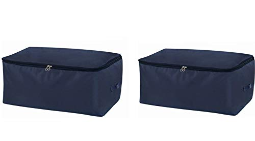 Clothes Storage Bag 105L Large Capacity Organizer with Reinforced Handle Thick Fabric for Comforters, Duvets, Blankets, Bedding, Foldable with Sturdy Zipper, Comfortable No-Smell,2 Pack,Navy Blue