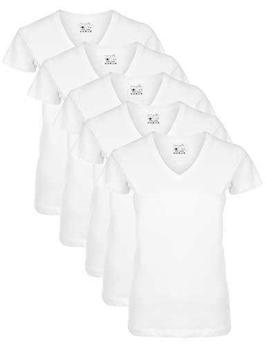 Berydale Für Sport & Freizeit, V-Ausschnitt Camiseta, Blanco Weiß), X-Small, Pack de 5