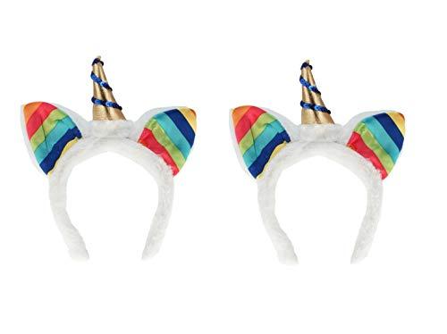Sonnenscheinschuhe® Doppelpack: 2 x Haarreif Einhorn Regenbogen Fantasie Fastnacht Fasching Karneval Kostüm