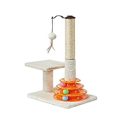 PEEKAB Tall Cat Scratching Post Kitten Sisal Scratcher Tree with Cat Tracks Toy Balls - 25 inches (Beige)