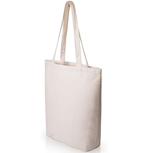 Heavy Duty and Strong Large Natural Canvas Tote Bags with Bottom Gusset for Crafts, Shopping,...
