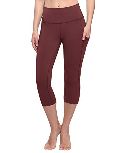 BALEAF Women's Workout Yoga High Waist Capris Pocketed Cropped Leggings 3/4 Exercise Athletic Tights Wine Red Size M