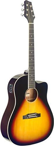 Stagg Cutaway - Guitarra acústica y eléctrica para hombro con pendiente (Sunburst